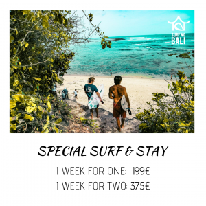 Surf camp Bali SurfWG Special Offer Pop-Up. Cheap Stay and learn to surf in the best surf camp in Bali