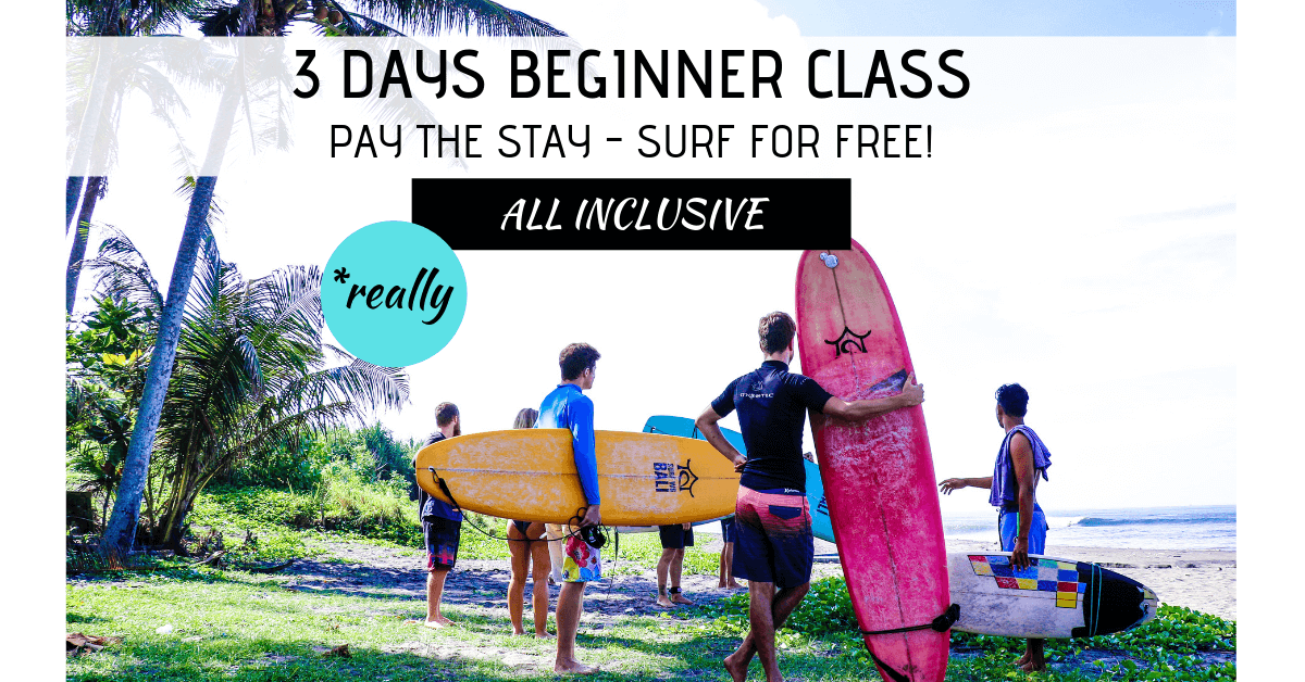 Flyer for Beginner surf class 3 days at SurfWG Bali surifng in bali for beginners
