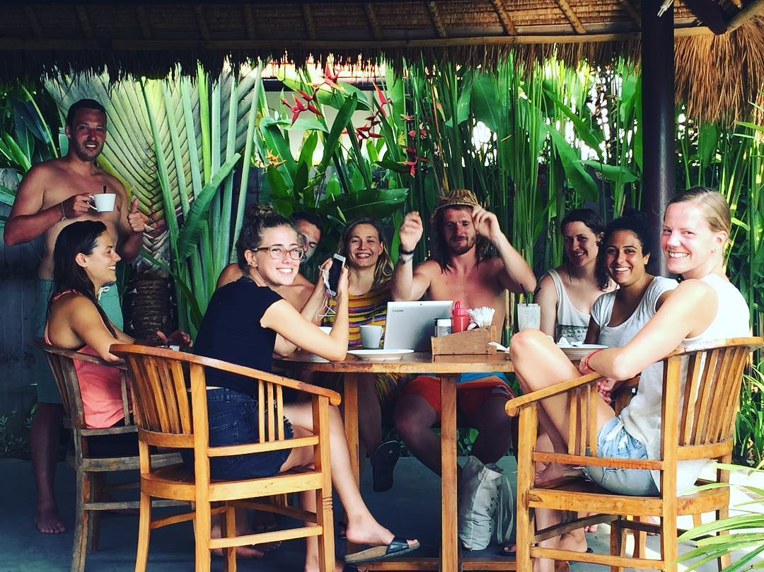 SurfWG Bali guests in our restaurant in Canggu