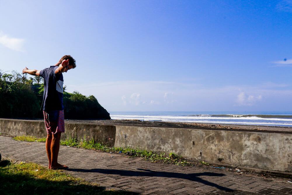 meditating SurfWG Bali guest