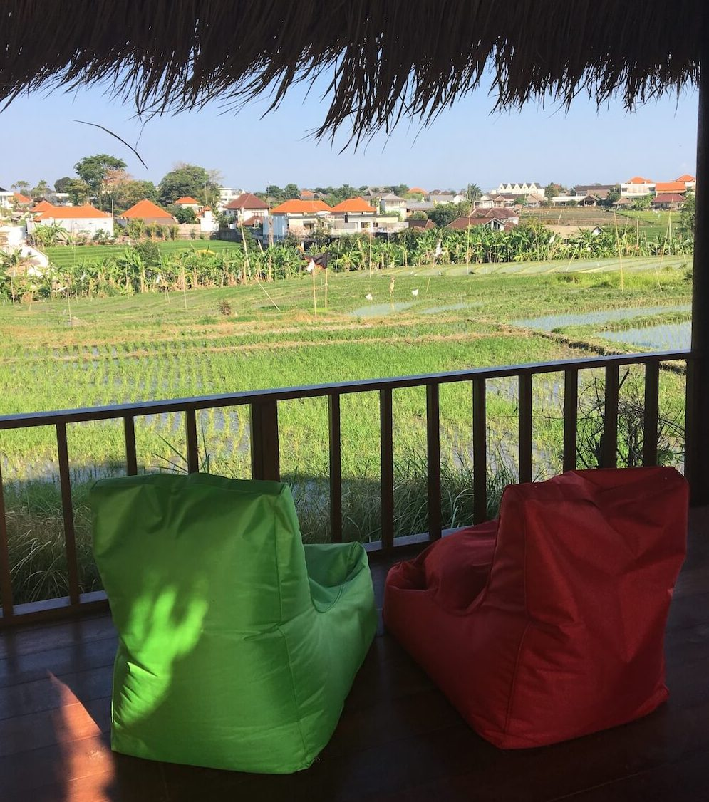 Villa Baru rice field view surfwg surf camp bali