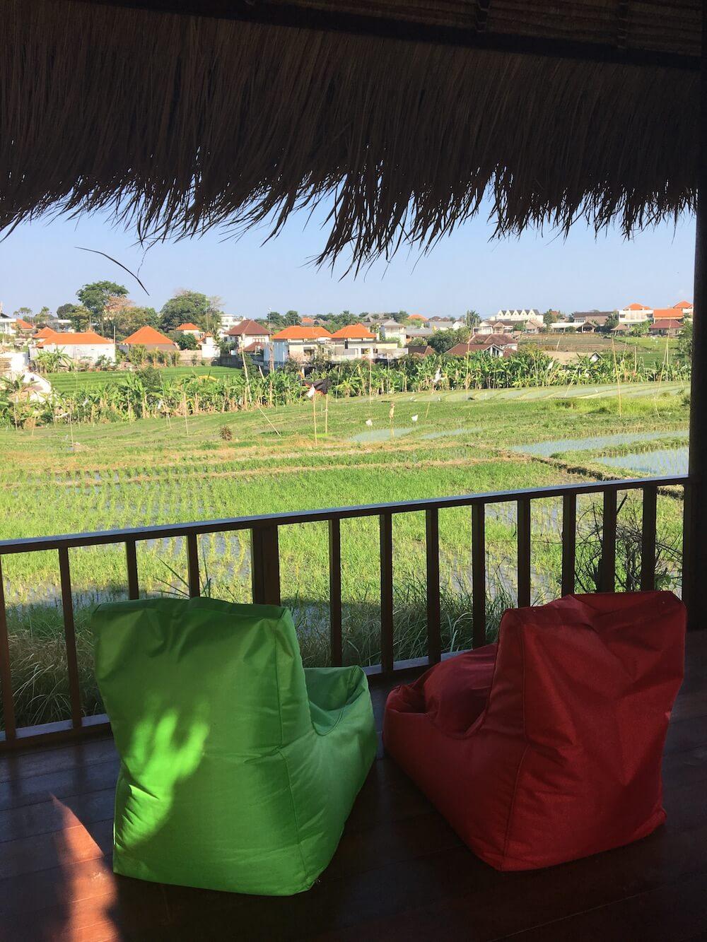Villa Baru rice field view surfwg surf camp bali