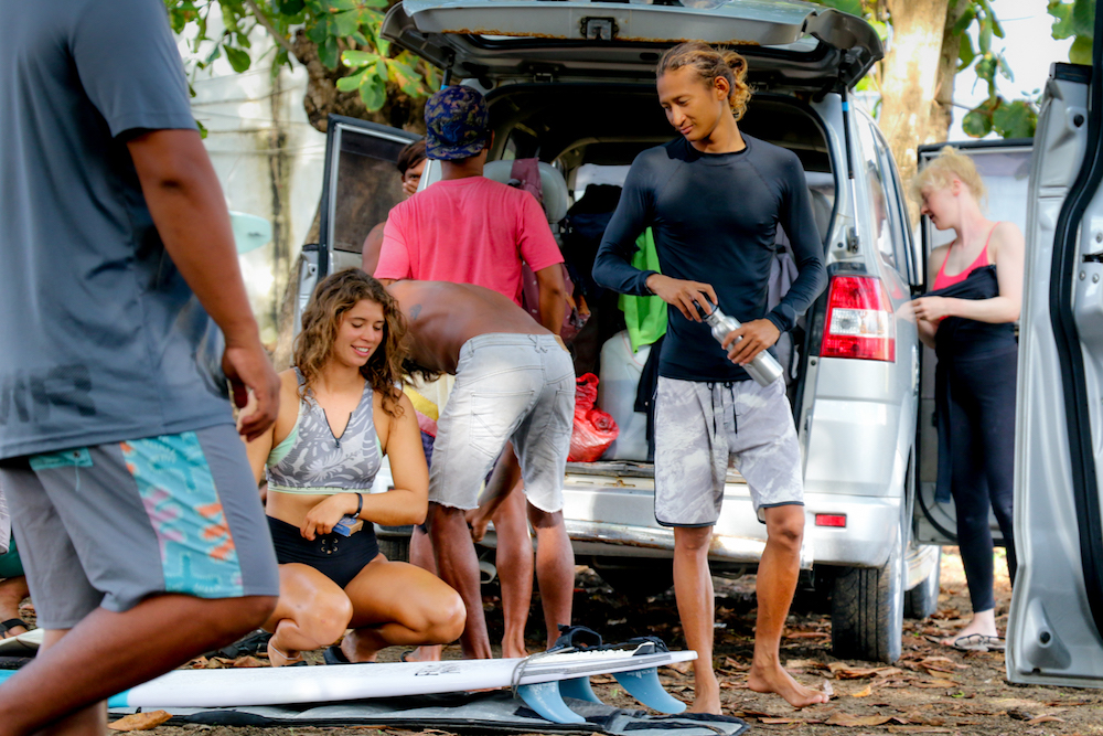 surf guide Rizky and guest surf boards surfwg bali surf camp Bali